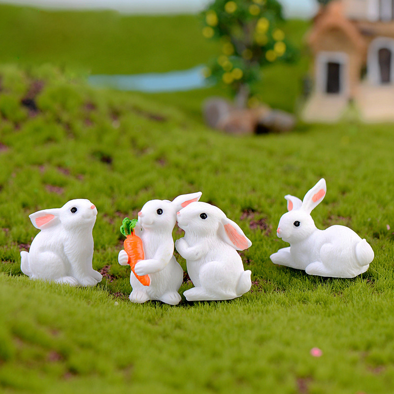 Easter Love White Rabbit Figures Funny Animal Model Miniature Figurines Fairy home Garden Wedding Doll Decoration Girl toy gift 1