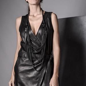 Image 3 - YD & YDBZ جديد طويل جلدية قلادة المرأة مجوهرات فاخرة اليدوية مصمم قلادة قلادة الجلود و سلسلة الشرير نمط المختنق