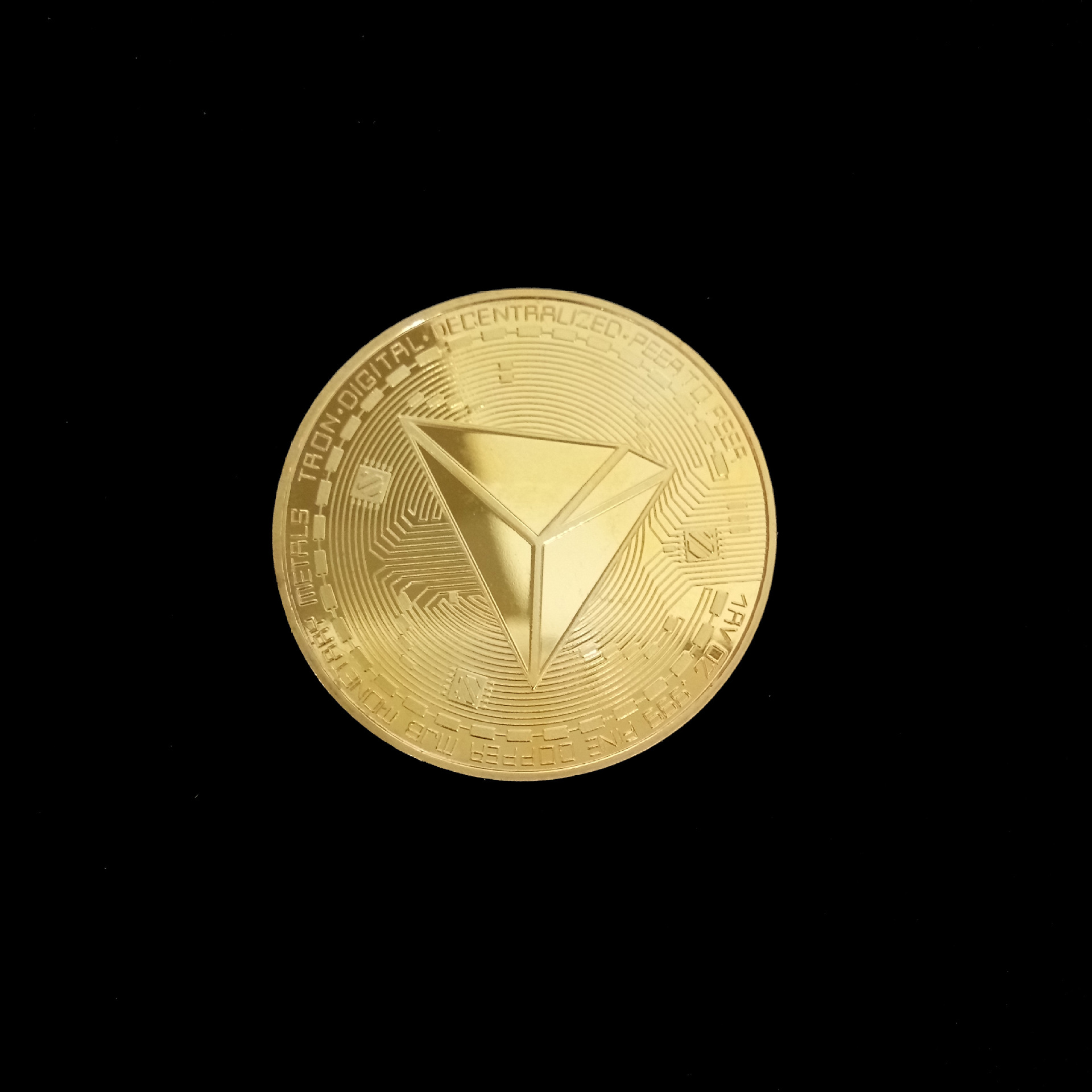 Новые неталютные TRX монеты виртуалные металлические памятные монеты TRX монеты Биткоин памятные монеты подарок Прямая - Цвет: Gold
