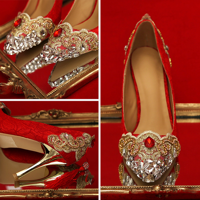 shoes woman red heels wedding shoes crystal diamond chinese national tassel pumps  bride shoe party dress shoes gold color heel -in Women s Pumps from Shoes  ... 90b8badb457c