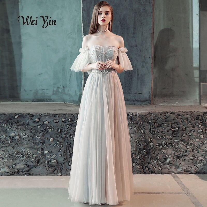 Weiyin 2018 nouvelles robes de bal à manches courtes Simple longueur de plancher en cristal Sexy Illusion mode Tulle luxe robes de soirée WY805