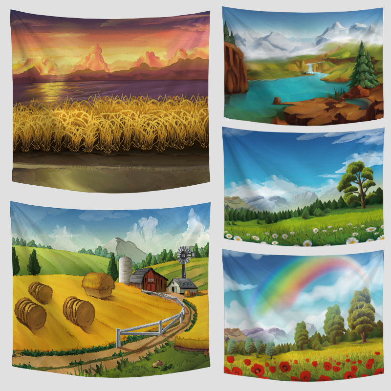 Amazing Graceful Painted Rainbow Flowers Beautiful Sight Printed Wall Hanging Tree Natural Scenery Tapestry Living Room Decor