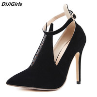 DiJiGirls women pumps sexy heels shoes woman blank pointed toe ankle strap buckle shoe Tongue high heels Gladiator stilettos 9
