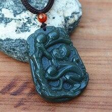 100% Natural Green Hetian Jades Pendant 3D Handmade Carved Zodiac Monkey Pendants Women Men's Amulet Nephrite Jades Jewelry+Rope