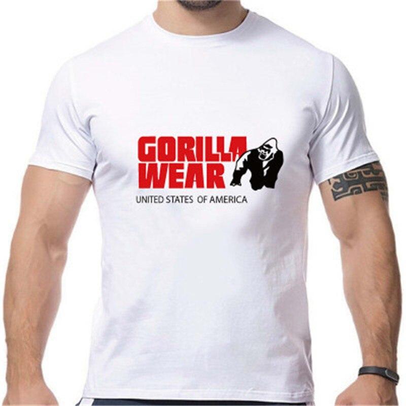 2018 neue Modemarke Männer T-shirt Gorilla Tragen Druck Einfarbig Muscle Tops Mens Kurzen Ärmeln Gerade Stecker Lose Baumwolle