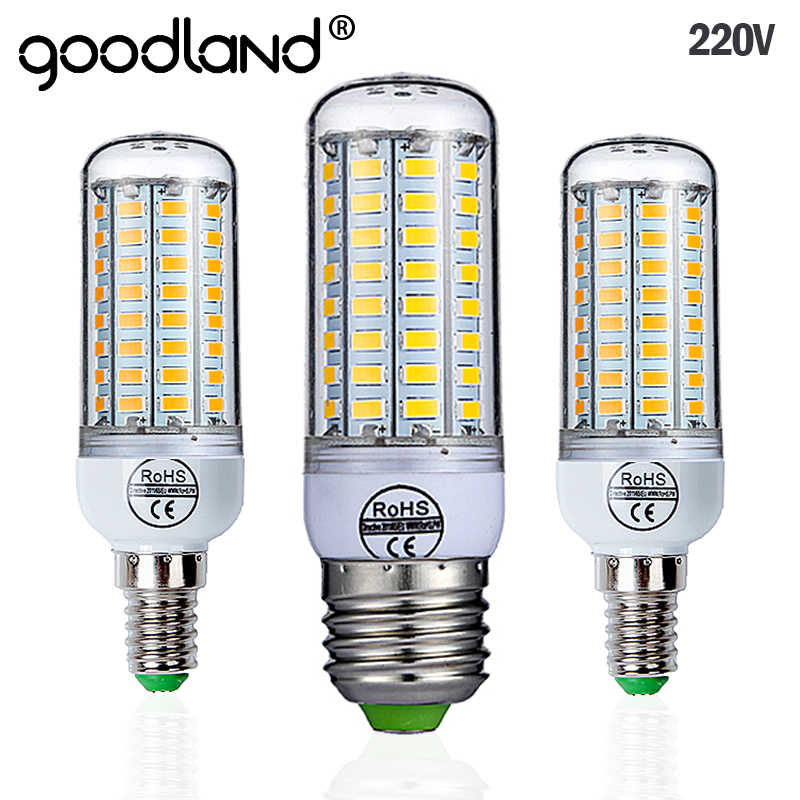 Goodland E27 LED Lamp 220V SMD 5730 E14 LED Light 24 36 48 56 69 72 LEDs Corn Bulb Chandelier For Home Lighting LED Bulb