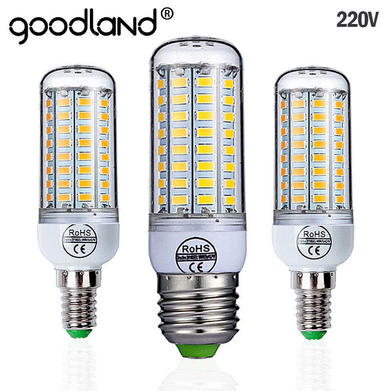 цена на Goodland E27 LED Lamp 220V SMD 5730 E14 LED Light 24 36 48 56 69 72 LEDs Corn Bulb Chandelier For Home Lighting LED Bulb