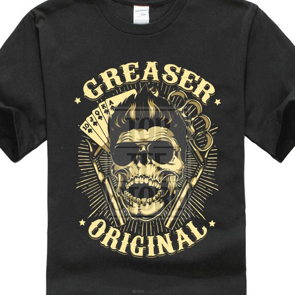 New Design Men Tops Short Sleeve Cotton Fitness T Shirts Greaser Black Vintage Chopper Poker Ass V8 Us Car Old School Tee Shirt