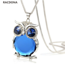 2017 New Fashion Maxi Necklace Wholesale Fashion Jewelry Crystal From Swarovski Beaded LOVE Blue Owl Pendant Necklace For women(China)