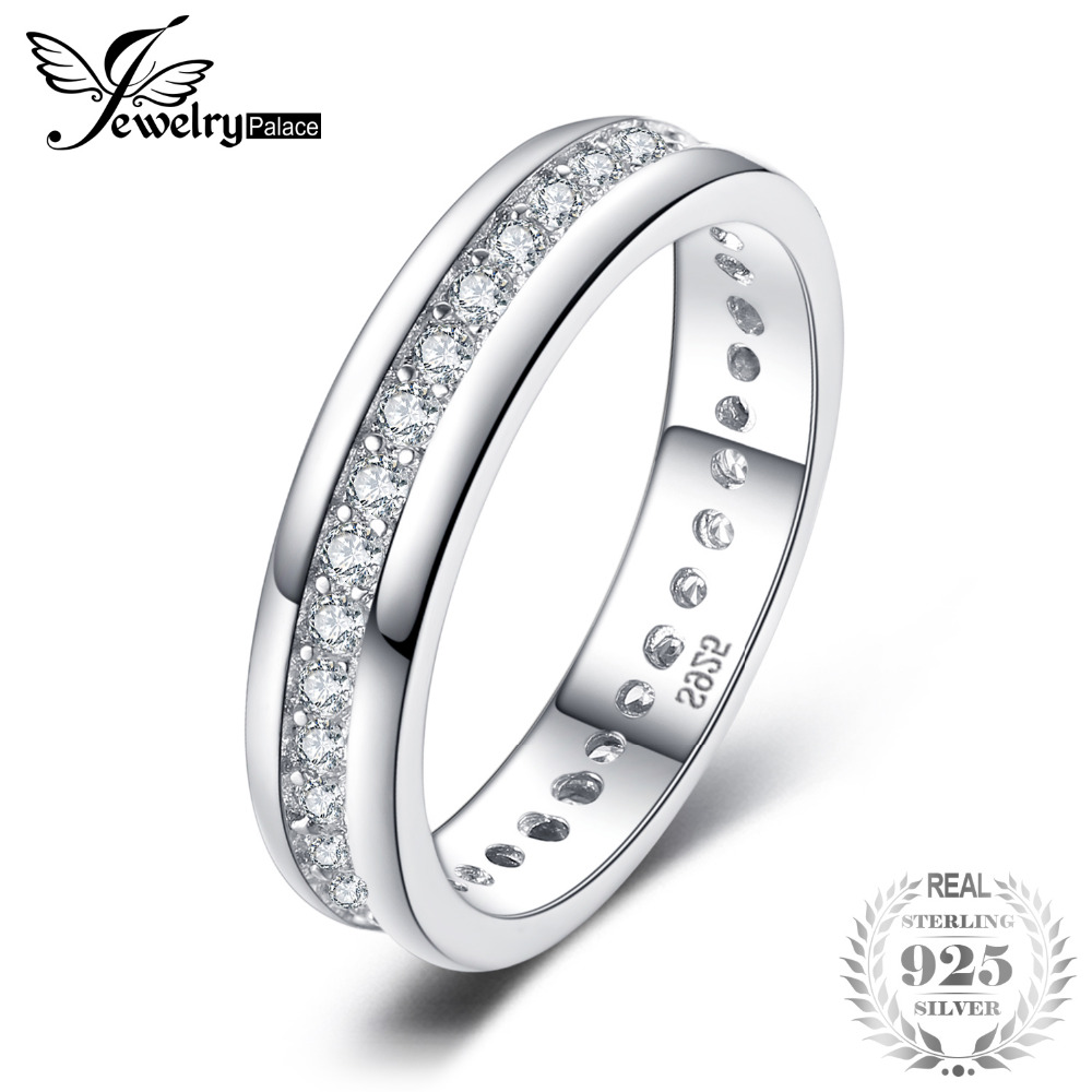 23cdcbee10 Cubic Zirconia Wedding Band Channel Eternity Ring Genuine 925 Sterling  Silver Fine Jewelry For Women Brand New