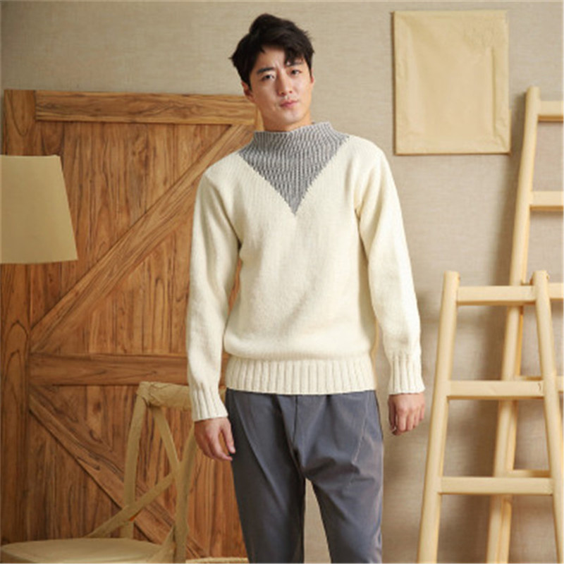 100% Hand Made Pure Wool Patchwork Half High Collar Knit Men Brief H-straight Pullover Sweater One&over Size