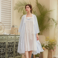 Autumn Two pieces New Ladies Long Dress Flower Embroidery Sleepwear Vintage Nightgown Cotton Sleepwear Women Nightdress 2018