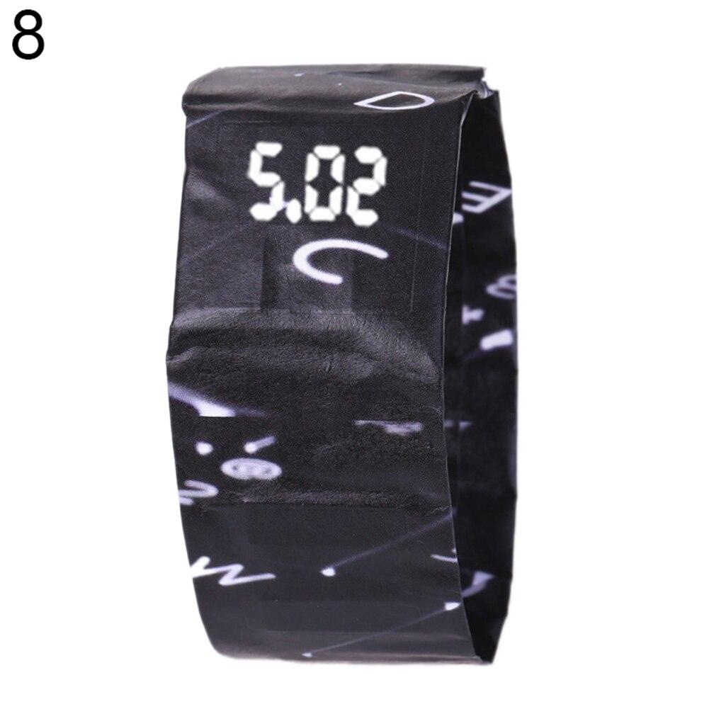 Креативный водонепроницаемый унисекс студенческий светодиодный светильник цифровой дисплей бумажные часы подарок - Цвет: 8