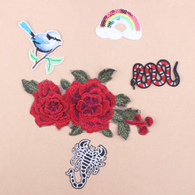 Prajna DIY Bird Flower Patches Set Embroidered Iron On Patch Rainbow Appliques Clothes Badges Stripe Stickers Snake RoseD1