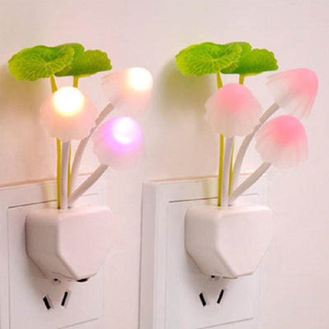 Cute Mushroom Fungus Night Light 220V 3 LED EU & US Plug Light Sensor Colorful Lamp Led Night Lights Home Decor for Children