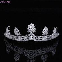 Jonnafe Luxury AAA Zircon Queen Crown Bridal Tiara Wedding Prom Headpiece Hair Accessories Jewelry Women Tiaras