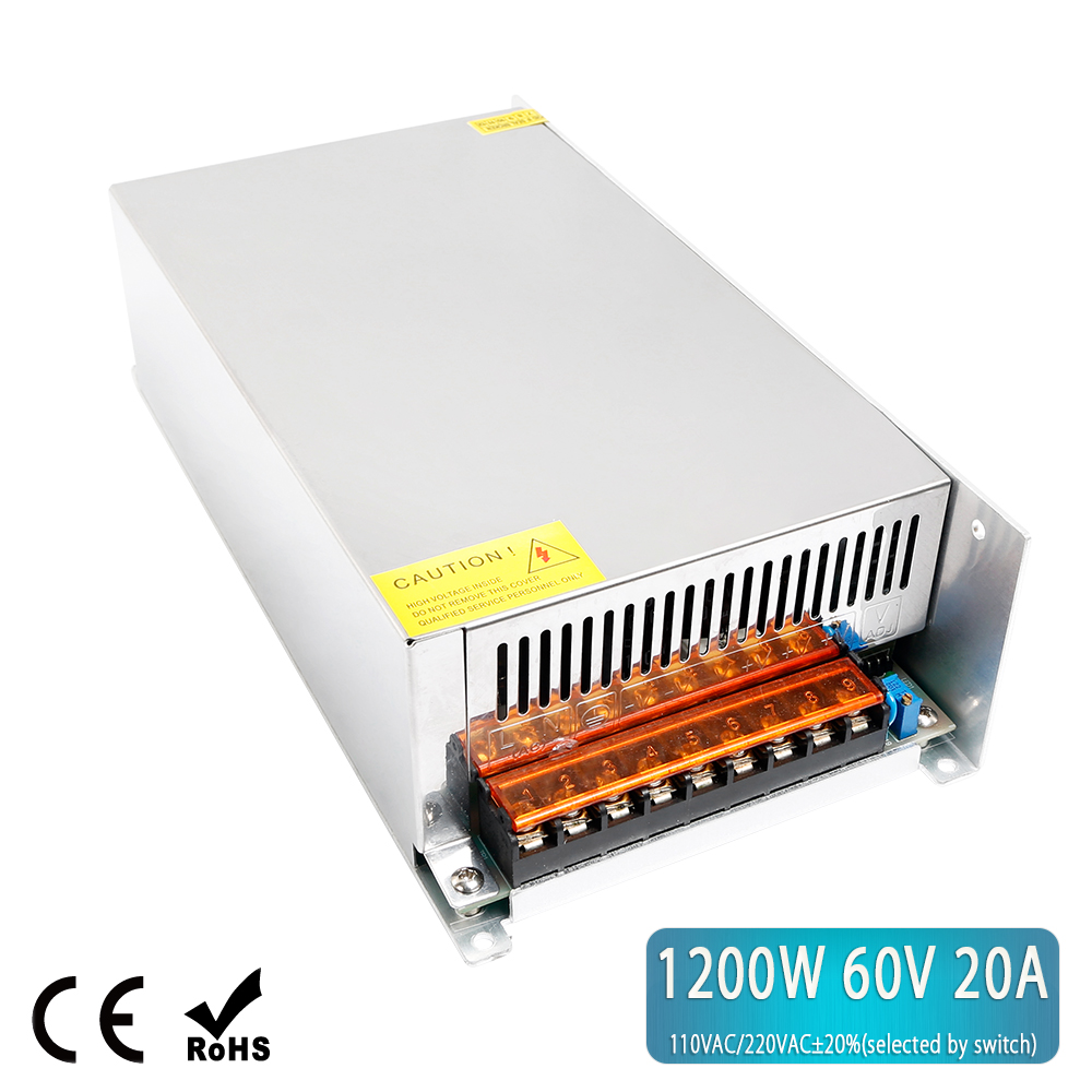 1200W 60V 20A Switching Power Supply PSU For CNC Kit LED Strips Light DIY CCTV