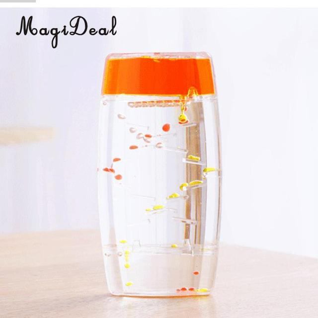 MagiDeal Creative Square Floating Oil Liquid Motion Timer Hour Glass Ladder Random Color