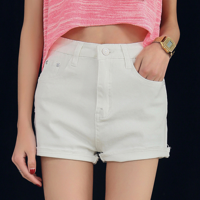 New 2016 summer Casual women shorts white denim shorts fashion plus size high waist shorts pantalon femme shorts women