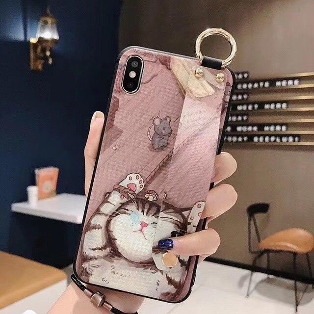 Dragonne souple coque en TPU pour iphone 7 8 6 6s plus SE 5 5s étui pour iphone X Xs 11 Pro Max XR chat lapin lapin anneau support couverture