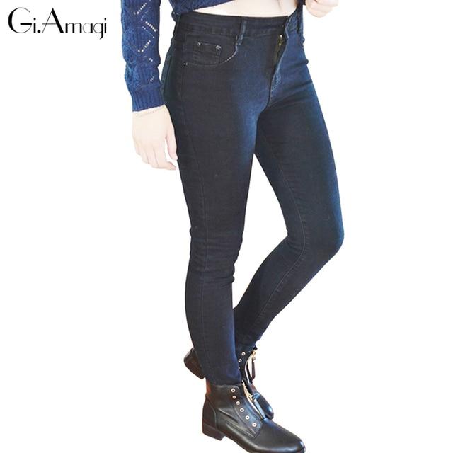 2018 Jeans Mujer Casual Stretch Denim Color sólido costura cintura ...