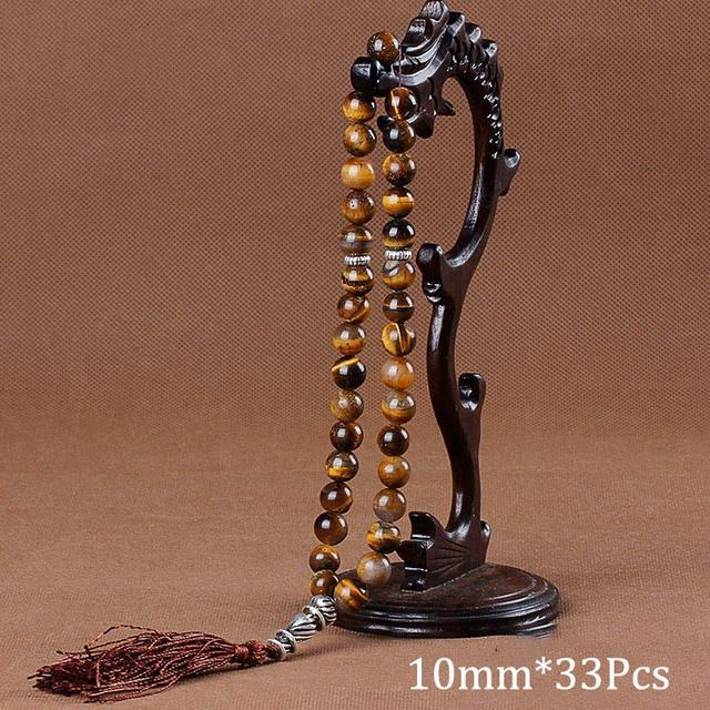 10 ミリメートルタイガーアイ天然石ブレスレットタッセルペンダント 33 数珠イスラム教徒の Tasbih アッラーモハメッドロザリオ女性男性
