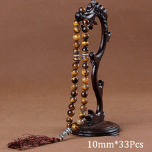 10Mm Tiger Eye Natuursteen Armbanden Tassel Hanger 33 Gebed Kralen Islamitische Moslim Tasbih Allah Mohammed Rozenkrans Voor Vrouwen mannen