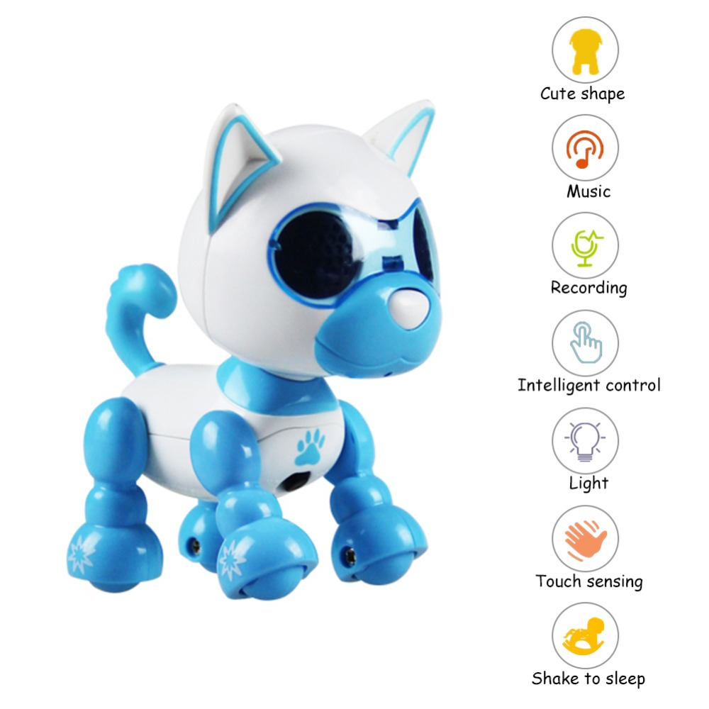 Robot Toy Dog Interactive Smart Puppy Robotic Dog LED Eyes Sound Recording Sing Sleep Cute Action Figure Education Toys