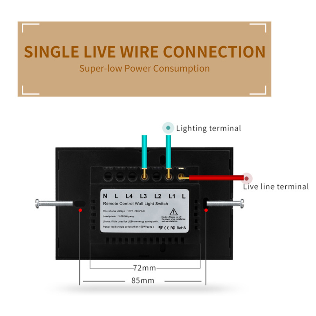 Remote Control Wall Touch Switch Us Wireless Light Panel Wifi On Off Wiring A Two Gang 1 X Capacitor 2 Screw User Manual