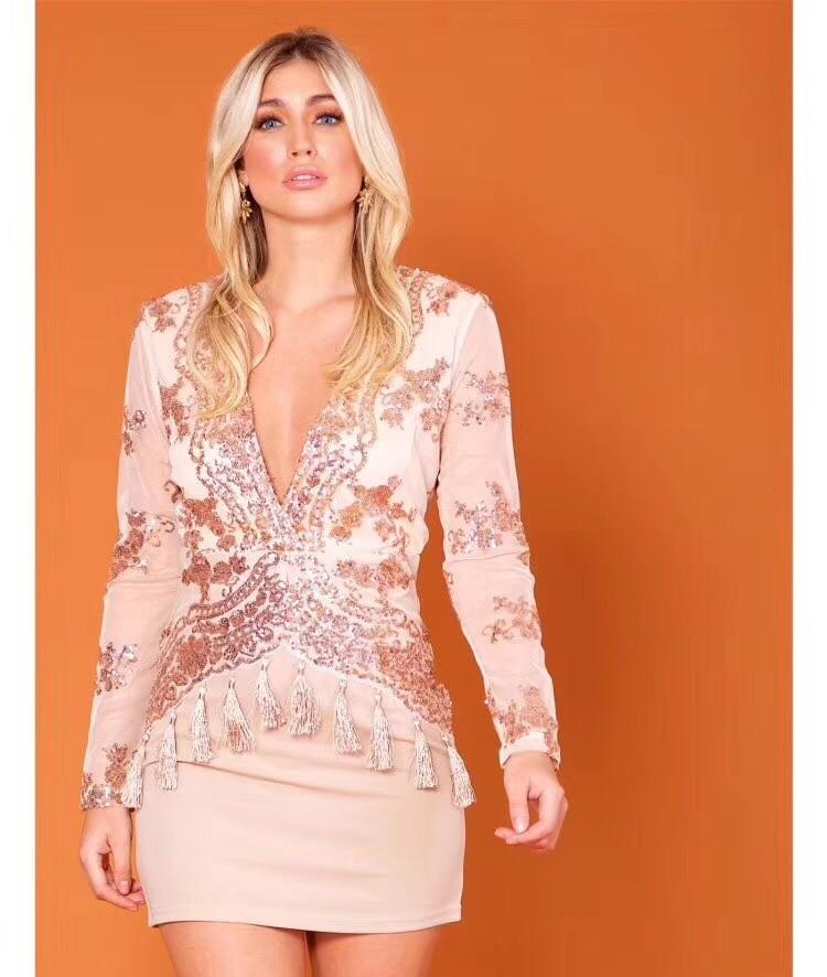 1b70a80ab31e Fasciatura Delle Scollo Nuovo Dalla Sexy 2018 Party Nero Lunga Arrivo Vestito  Elegante Manica il A Dress V Beige Donne Paillettes Celebrity A51xqOYw1