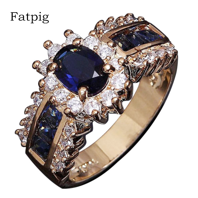 Blue Zircon Crystal Stone Rings for Women Gold Color Engagement Wedding Rings Vintage Female Oval Rings Womens Rings Jewelry