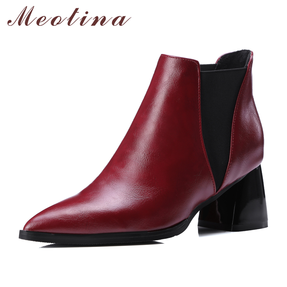 Meotina Shoes Women Ankle Boots Chunky High Heels Martin Boots Pointed Toe Ladies Chelsea Boots Wine