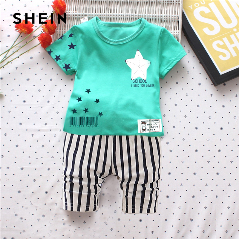 SHEIN Kiddie Star Print Tee With Striped Print Shorts Boy Two Piece Sets 2019 Spring Short Sleeve Casual Clothes Boys Suit plus letter print striped tunic tee