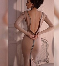Long sleeved sexy backless zipper knitted dress