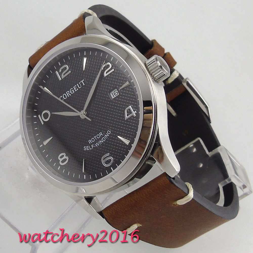 42mm Corgeut Black Dial Sapphire Glass Date Stainless steel Polished Case Leather Luxury Miyota Automatic Movement Men 39 s Watch in Mechanical Watches from Watches
