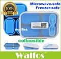 3-Compartments WALFOS food grade silicone Microondas Bento Lunch Box Set Para As Crianças Lancheira Microondas Bento Box Para Adultos