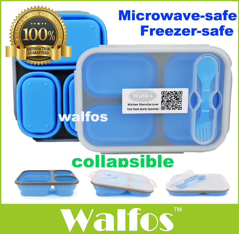 buy walfos food grade silicone microwave 3 compartments bento lunch box set for. Black Bedroom Furniture Sets. Home Design Ideas