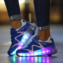 цена на LED Shoes for Boys Girls USB Charger  Flashing Dounle Wheels Roller Skate Shoes Roller Skating Shoes Colorful Glowing Sneakers
