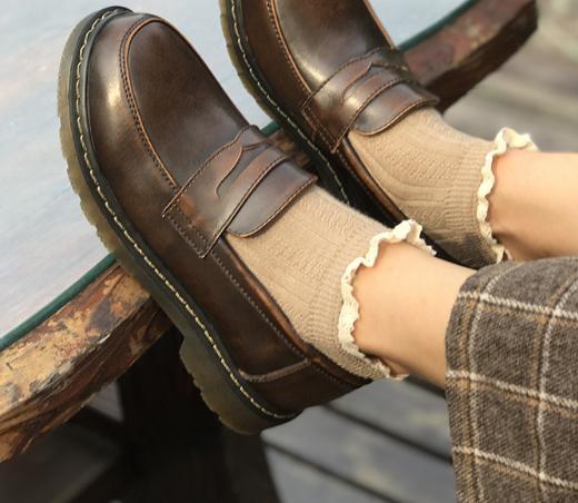 Femmes Baimier OccasionnelsNoir Oxford Chaussures Véritable Rond Mocassins Bout Cuir Rétro Pour marron Britannique O0nwPk
