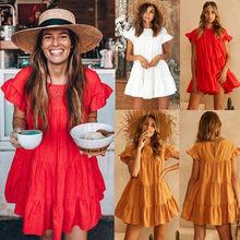 ba04453716 Kobiety panie słodkie lato sukienka 3 styl kaskadowe Ruffles solidna płatek  rękaw O-Neck linii