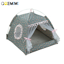 цены на 2019 Portable Foldable Pet Dog Tent House Breathable Print Pet Cat House with Net Outdoor Indoor Mesh Cat Small Dog Tent House  в интернет-магазинах