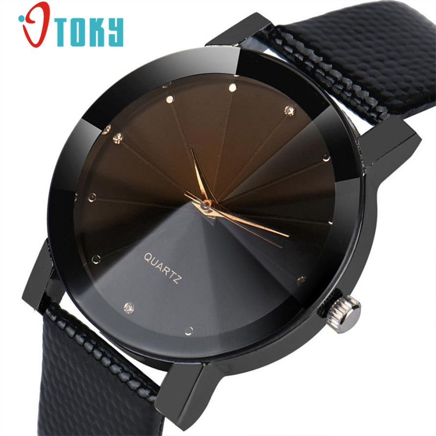 Watch Willby Drop Ship Black Luxury Quartz Stainless Steel Dial Faux Leather Band Quartz Wrist Watch