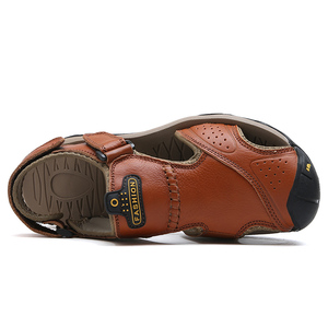Image 4 - Mynde 2019 חדש גברים קיץ סנדלי עור אמיתי חדש לגמרי חוף גברים סנדלי נעלי בית לנשימה באיכות גבוהה גברים נעליים יומיומיות