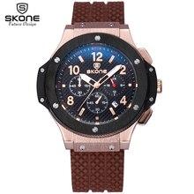 SKONE Reloj Cronógrafo Deporte Hombres 24 Horas Display Silicona Reloj Resistente A los Golpes Impermeable A Estrenar Del Cuarzo Militar Reloj Relogio