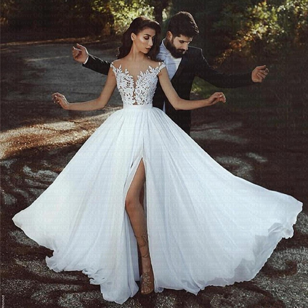 2019 Elegant Women's Gowns Beach Cheap Wedding Dress 2019
