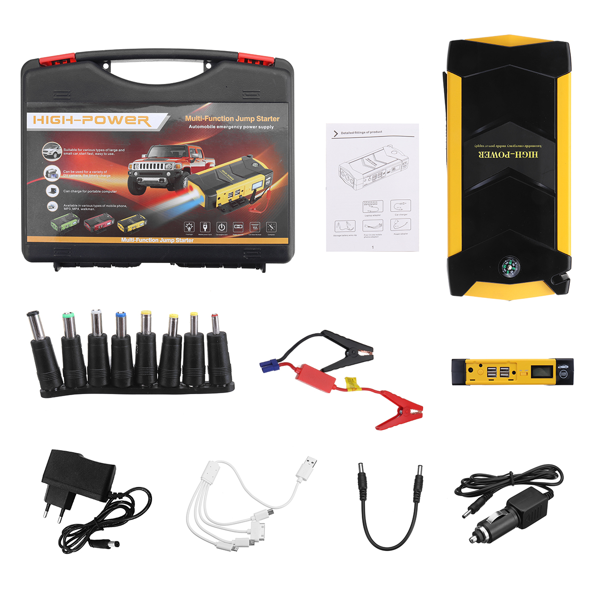 Power Car Jump Starter 12V Portable Starting Device Power Bank Car Charger For Car Battery Booster Buster 4 USB 4