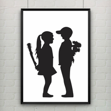 Girl With Balloon by Banksy Poster Canvas Art Cuadros Decoracion Painting Wall Picture Kids Room Nursery Decor, No Frame