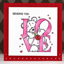 Cute Bear DIY Clear Silicone Stamp Template Stencil Embossing Scrapbooking Card Album Photo Making Handmade Decoration