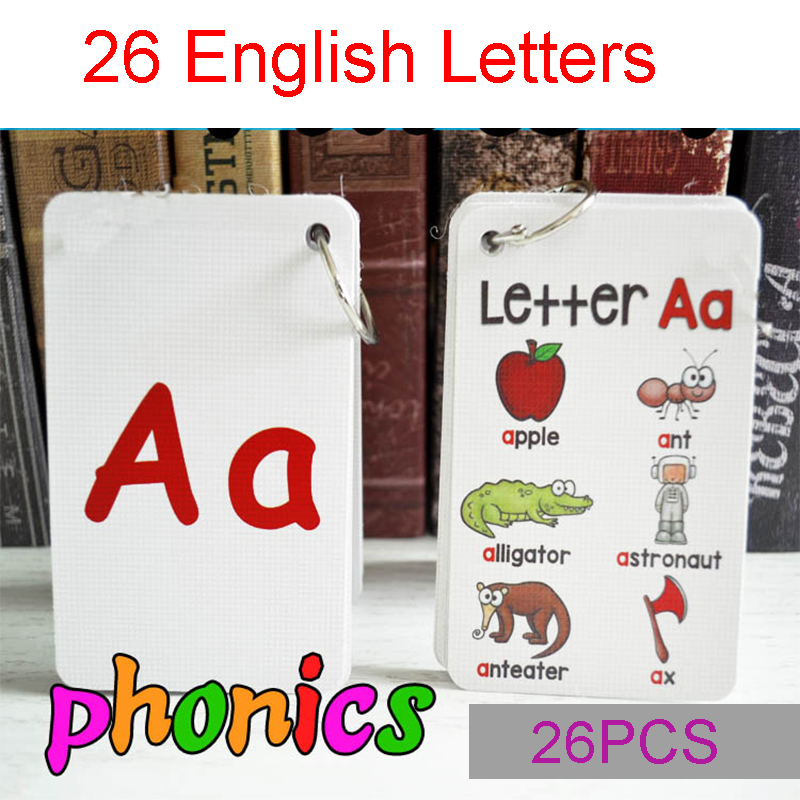 26 Letters English Phonics Pocket Cards Kids Montessori Learning English Word Card Flash Cards Educational Toys For Children subtraction 52 flash cards