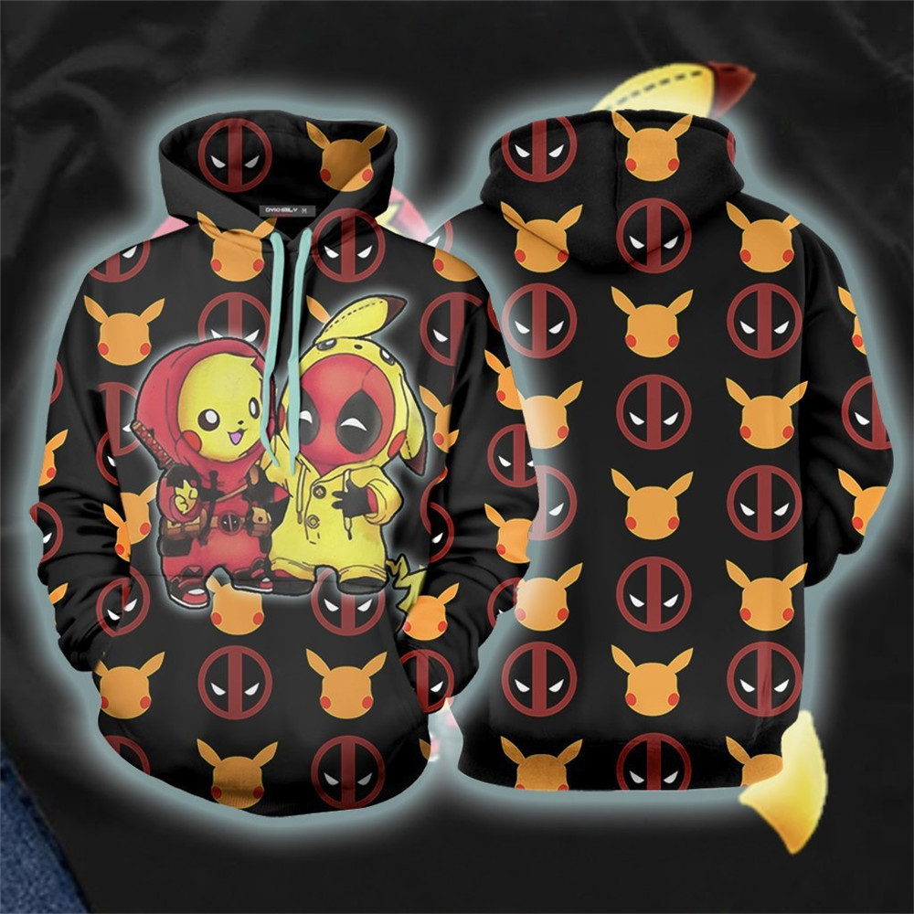 Super Hero Pikachu Deadpool Costumes Hoodies 3D Unisex Sweatshirts Zip Hoodies Casual Cool Coat Jacket Cosplay Halloween Sweater